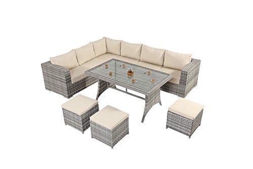Sofá de la esquina oeste mesa rústica - consiste en un gran sofá de esquina con tres plazas sofás dos Modular, una mesa de comedor tapa de cristal y tres escabeles de mimbre muebles de jardín