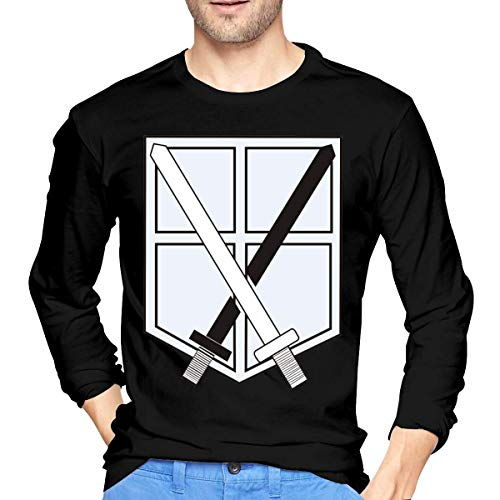 jjk Classic Tops Attack On Titan Training Corps Logo Long Sleeves T-Shirt for Men's Black Camisetas y Tops(XX-Large)