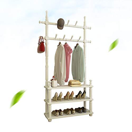 Râteliers multi-usages Cintre Plancher Plancher de Chambre à Coucher en Bois Massif Multifonctionnel Simple Porte-Manteau Suspendu étagère à vêtements Casiers (Color : Blanc, Size : 60 * 30 * 180cm)