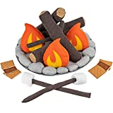 Cart Adventure Kids Pretend Plush Campfire and S'Mores Toy Set | Fun Indoor Camping Accessories | Fake Fire, Logs, Stones and S'Mores for Imagination | Play Set for Learning The Outdoors or Decor