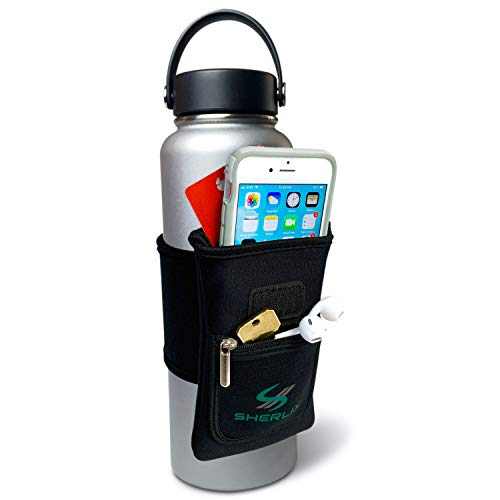 SHERLIX Water Bottle Pouch for Cell Phones, Keys, Earbuds, AirPods, Money, Credit Cards, and More. Fits Most Wide Mouth Water Bottles, Hydro Flask, YETI, Takeya, etc. (Black, Small)