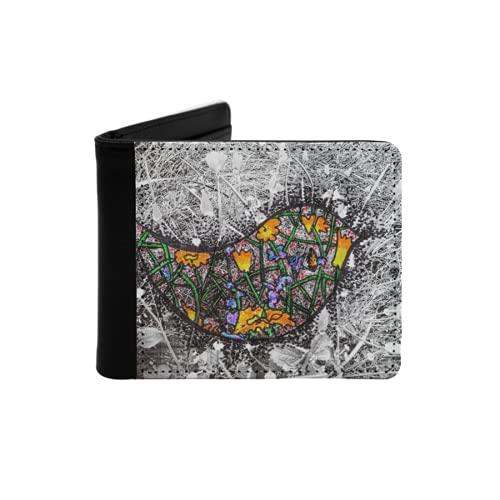 Cartera Delgada de Cuero para Hombre,Dibujado a Mano ilustración Abstracta de pájaro de Color sobre Fondo Blanco y Negro,Cartera Minimalista con Bolsillo Frontal Plegable