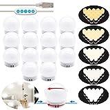 Luces LED Kit de Espejo con 14 Bombillas regulables 5 Modos Ajustable de Color y 5 niveles de brillo...