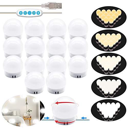 Luces LED Kit de Espejo con 14 Bombillas regulables 5 Modos Ajustable de Color y 5 niveles de brillo de Luz USB Luz Espejo Maquillaje,Tocador,Espejo,Baño,Regalo 3000K-6500K - Base de actualización