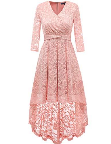 DRESSTELLS Damen Abendkleider Rosa elegant Cocktailkleid Unregelmässig Spitzenkleid Brautjungfernkleid Floral Kleid Blush XL