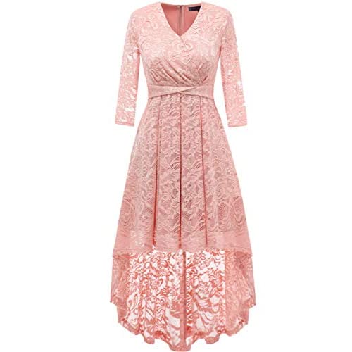 DRESSTELLS® 50s Floral Lace 3/4 Sleeve V Neck High-Low Lace Bridesmaid Formal Party Dress