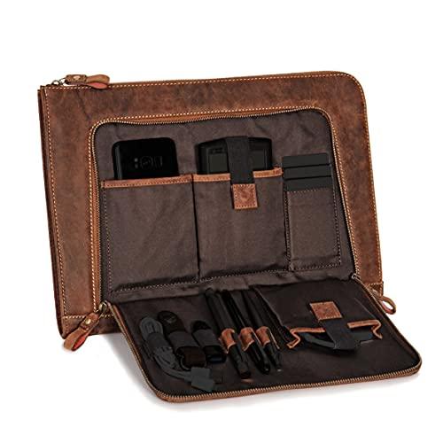 DONBOLSO® Notebook Sleeve London braun - 13,3 Zoll DIN A4 Laptop und Netbook Aktentasche aus Leder für Herren und Damen