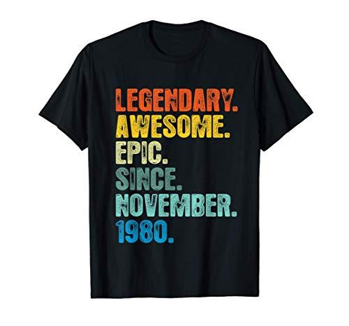 Camiseta legendaria desde noviembre 1980, regalo de 40 años Camiseta