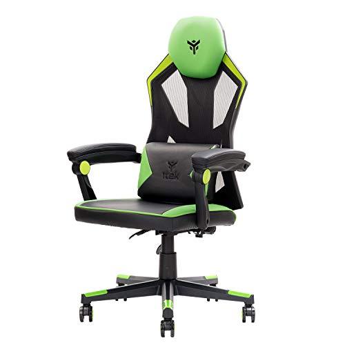 ITEK 4Creators CF50 - Silla para videojuegos ergonómica de color verde, respaldo reclinable y reposacabezas ajustables, soporte lumbar, comodidad y diseño, ideal como silla de oficina