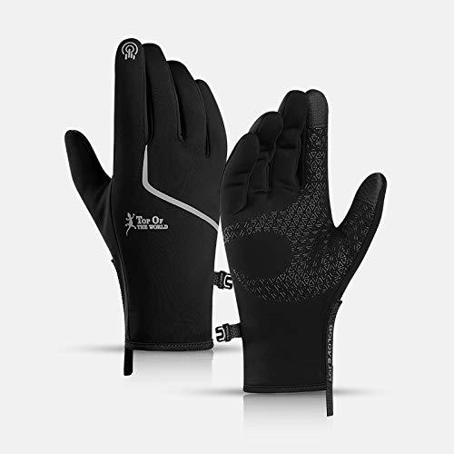 Guantes de invierno para hombres y mujeres, guantes de pantalla táctil, impermeables, antideslizantes, de silicona, con forro polar y hebilla portátil, guantes cálidos para...