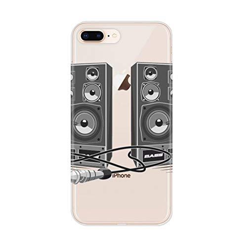 DIYthinker Muziek Muziek Luidspreker Doos Patroon Apple iPhone 7/8 Telefoonhoesje Flexibel Zacht Slim Transparant Cover
