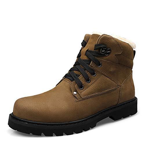 Botas de Moda para Hombres Casual Clásico de Toe Toe Winter Fleece Dentro Alturas Top Boot (Color : Khaki, Size : 45 EU)