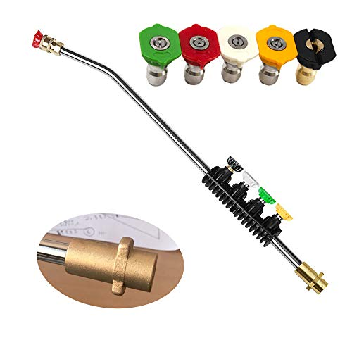 Pressure Washer Wand Extension Power Spray Gun Adjustable Car Wash Gun Angle Jet Lance 22 inch with 5 Pcs Spray Nozzles and Adaptor Compatible with High Pressure Washer Karcher K2/K3/K4/K5/K6/K7