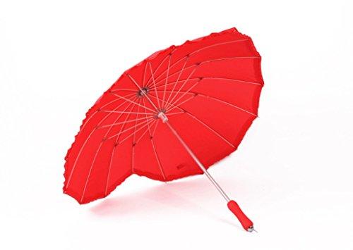 GTWP GT Regenschirm Langer Griff, herzförmiger Regenschirm, rot, Hochzeitsschirm, sonniger Regenschirm