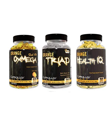 Controlled Labs Overall Health Bundle, 30 Servings Orange Triad, 90 Count Orange Health IQ, 120 Count Orange Oximega Fish Oil, Muscle Building and Recovery Supplement for Men and Women