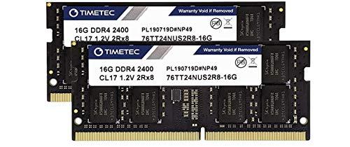 Timetec Hynix IC DDR4 2400MHz PC4-19200 Non ECC Unbuffered 1.2V CL17 2Rx8 Dual Rank 260 Pin SODIMM Laptop Notebook Computer Memory Ram Module Upgrade (32GB(2X16GB))