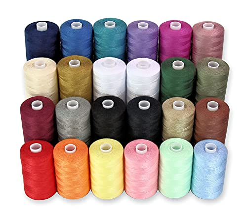 Sewing Thread - 24 Polyester Threads for Hand Stitching, Quilting & Sewing Machine - Set of 1000 yds Per Spool - 22 Colors Plus 2 x White & 2 x Black