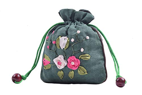"""VIAMTO 10pcs 11.0×14.0cm/4.4""""x5.6"""" Teal Satin Lined Floral Embroidery Drawstring Burlap Hemp Bags for Gift Packing…"""