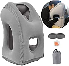 Inflatable Travel Pillow for Airplane, inflatable Neck Air Pillow for Sleeping to Avoid Neck and Shoulder Pain, Comfortably Support Head, Neck and Lumbar, Used for Airplane, Car, Bus and Office (Grey)
