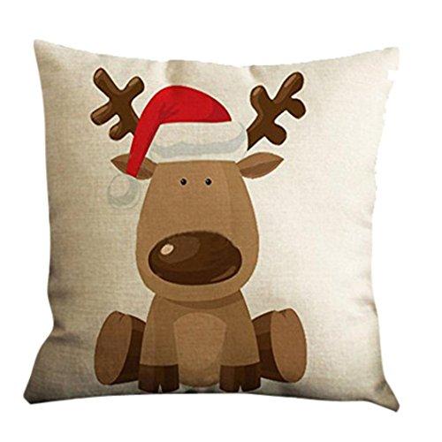 Han Shi Festival Pillow Shams, Christmas Print Sofa Bed Home Decor Square Cushion Cover (A, M)