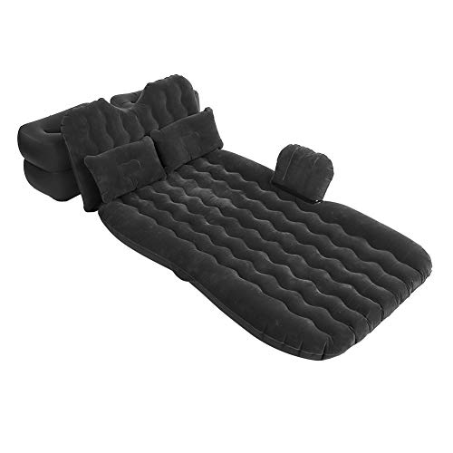 GOTOTOP Car Inflatable Bed Mattress Flocking Indoor Outdoor Camping Travel Car Back Seat Extended Air Couch Air Beds Cushion Mat+ Inflatable Pillows+Inflatable Stools +Air Pump (Black)