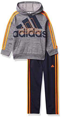 adidas boys Pullover Sweatshirt & Tricot Jogger Active Clothing Set