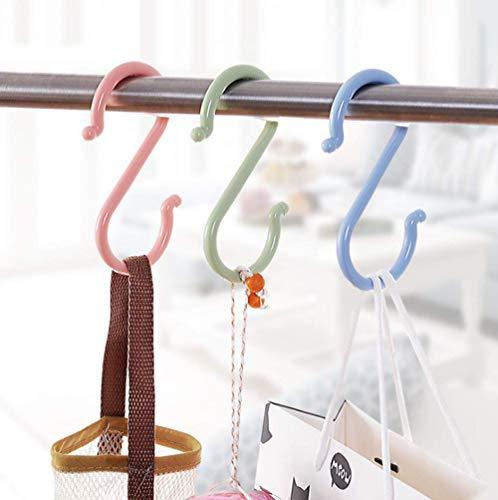 Dusenly 24 Stück bunte S-förmige Haken aus Kunststoff zum Aufhängen von Handtüchern, Kleiderhaken für Badezimmer, Schlafzimmer, Büro und Küche, Größe 6,8 x 3 cm