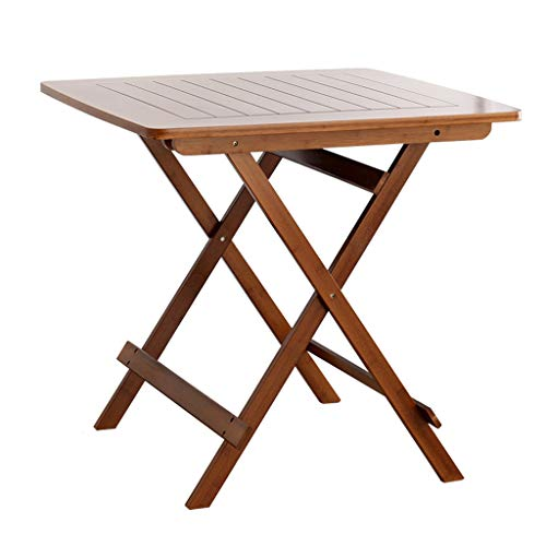 JJJJD Table Pliante Tabouret en Bambou Table Portable Pliante Petite Table Simple ménage Petit Appartement Table Petite Table carrée Marron (Taille : 60cmx59cm)