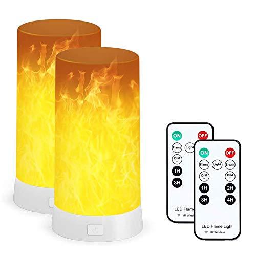 LED Flamme Lampe 2 Satz, PDGROW USB wiederaufladbare led flammeneffekt Nachtlicht, Schreibtisch/Tischlampe wasserdicht mit Fernbedinung für Weihnachten, Halloween, Party, Innen/Außenbereich