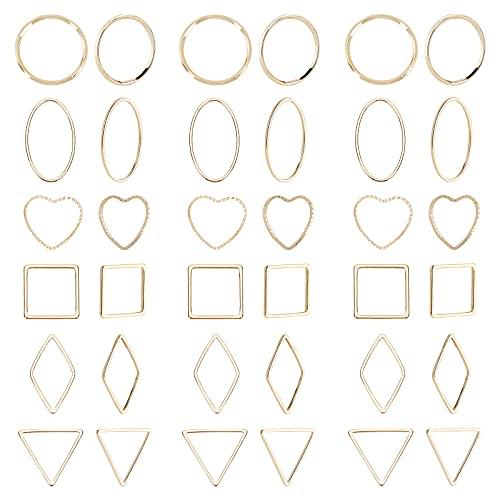SUNNYCLUE 1 Caja 48Pcs 18k Oro Geométrico Marco Hueco Encantos Abierta Bisel Colgantes Pendiente Anillos de Enlace Conectores Espacios En Blanco Fornituras de Joyería para Hacer Collares de Bricolaje