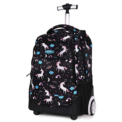 PROTAURI Kids Rolling Backpack Trollley School Bag Boys Girls Waterproof Polyester Book Bag Primary Student Carry On Luggage for Travel/Study with 2 Wheels(20 Inch)