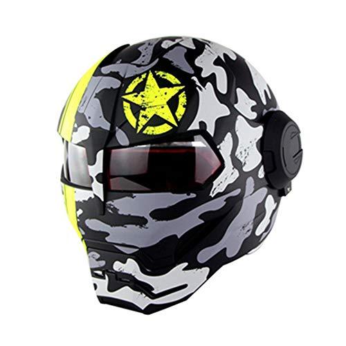 Evin Vollgesichts-Motorradhelm mit Sonnenschutz - DOT-Zertifizierung Persönlichkeit Innovation Retro-Iron-Man-Transformatoren Flip-Front-Motorradhelm mit Vollgesichtsschutz,Camouflage,L