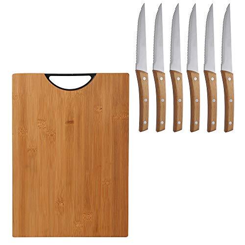 Bergner Tabla de cortar 35x25x3.0 cm black bamboo colección Neon con set de 6 cuchillos de carne en acero inoxidable