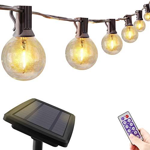 Solar Lichterkette Außen Glühbirnen für Sommerabend, 10M LED Lichterkette dimmbar mit Fernbedienung, Timer Funktion, Wasserdichte Lichterketten mit 30+3 G40 Birnen für Garten Balkon Party, Warmweiß