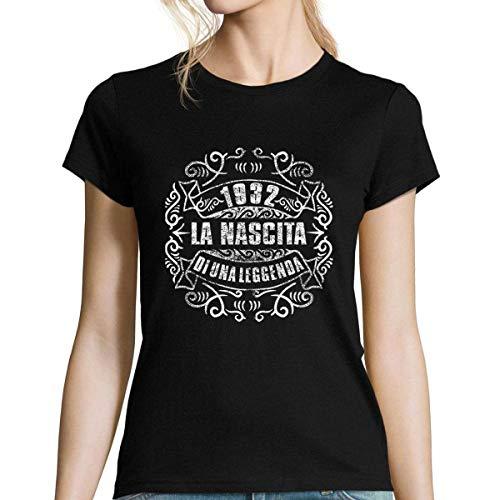 Planetee 1932 La Nascita du Una Leggenda |T-Shirt Donna Collection Compleanno |Maglietta Umoristica L