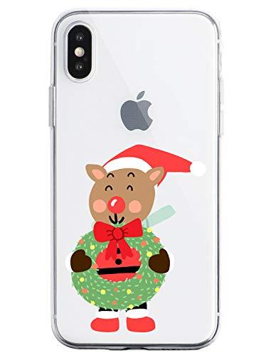 Oihxse Case Compatible Para Samsung Galaxy A30s, Etui en Silicone Souple Ultra Mince Transparente Crystal Coque Motif de Mignon Noël Christmas Snowflake Protection Housse