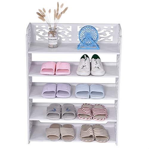 Estink - Estante de almacenamiento para el hogar (5 niveles, de madera, plástico, varios niveles, para almacenamiento diario, decoración para el hogar, dormitorio, salón, pasillo, color blanco