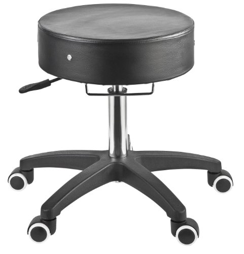 Master Massage Deluxe Glider Rolling Stool, Larger Seat Better Wheels with Grab Bar, Black