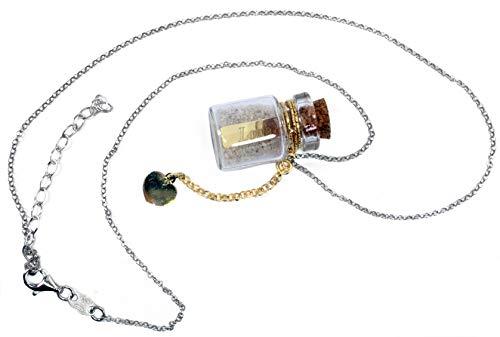MAGICMOON - Mod. VTP10000251 - Collar para mujer de plata 925 rodiada con colgante de botella de cristal y colgante de corazón