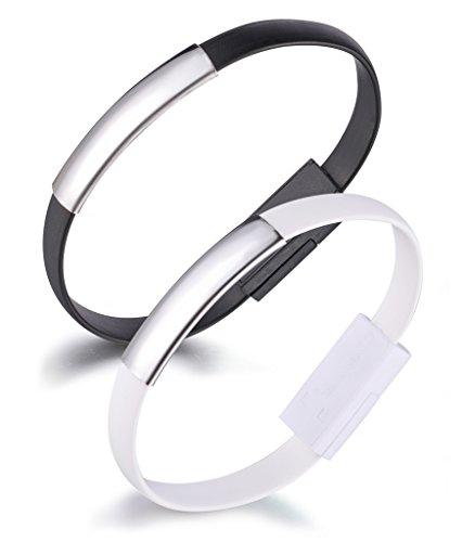 Yumilok Armband Ladekabel USB Datenkabel Lightning Kabel für iPhone 7, 7 Plus, 6, 6s, 6 Plus, 6s Plus, 5, 5s, 5c, SE, iPod und iPad mit Lightning Anschluss, 2 Stücke(Schwarz, Weiß)