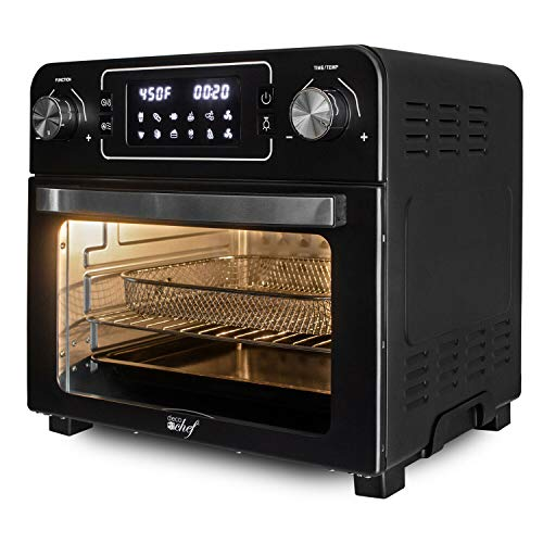 1700 Watts Toaster Air Fryer 24 Quarts Countertop Oven Rotisserie Rack Included, Size 16 x 12 x 14.5 inches, 450 Degree Fahrenheit, Create Healthier Meals French Fries, Pizza, Bread, Cake and so on