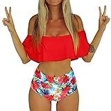 TIFIY Braguita Bikini Bikini Mujer Push Up Brasileno Bikini (Rojo,XL)
