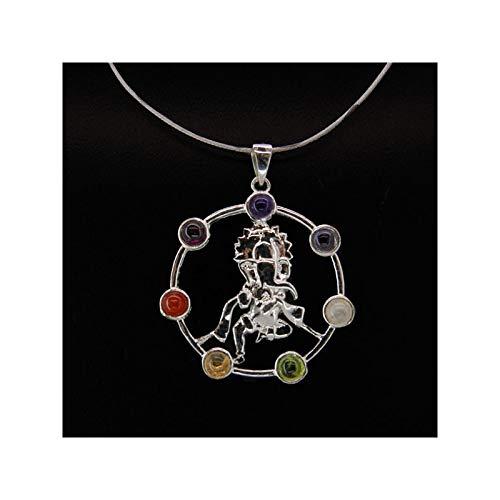 Mineral Import Kettenanhänger Ganesha mit Chakra-Mineralen, versilbert