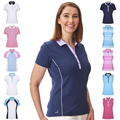 Under Par Damen Golf Pro Qualität Atmungsaktiv Wicking 5 Styles 10 Farben Ärmel & Ärmellos Golf Polo Shirt S Stil 1826 – Marineblau/Lavendel.