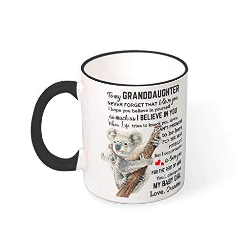 DAMKELLY Store Taza de porcelana con asa, diseño de Koala, color negro, 330 ml