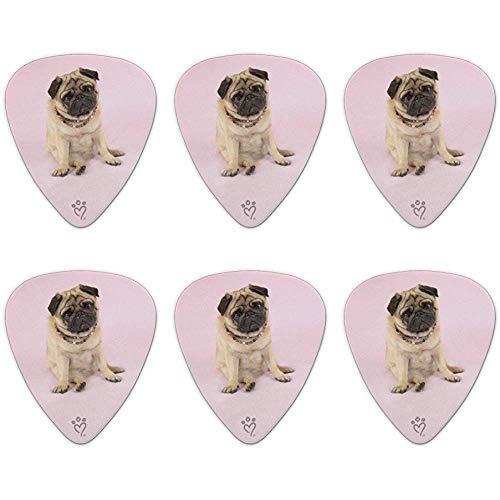 Pug Puppy Hond Zittend Roze Ketting Novelty Gitaar Picks Medium Gauge - Set van 6