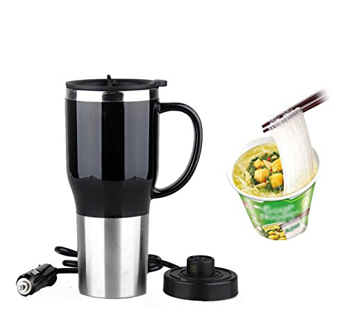 Mengshen Car Electric Heating Mug/Calentador Eléctrico para Coche/Taza de Acero Inoxidable 12V Travel Cup Portable Outdoor Students Hot Water Double Layer 12 Volt 450ML 50W, CA107 Black