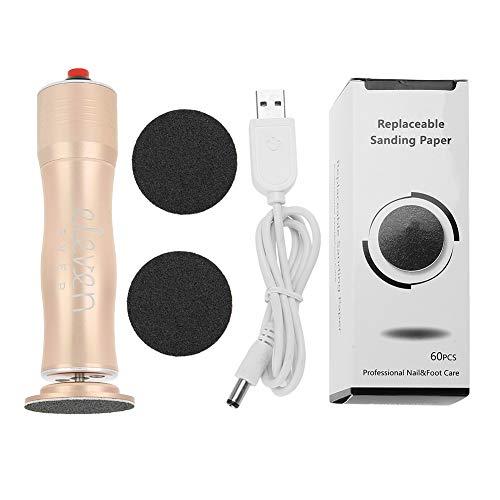 Depurador de pies profesional, removedor de callos eléctrico Carga USB Eliminador de callos Herramienta de cuidado de pedicura Lima para pies Removedor de piel dura Archivo eléctrico para pies(Oro)