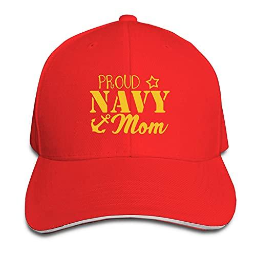 Hdadwy Navy Mom More Proud Man 's Sandwich Cap Gorra de béisbol UniversityUnisex Ajustable Boys Fun Hat Gorras