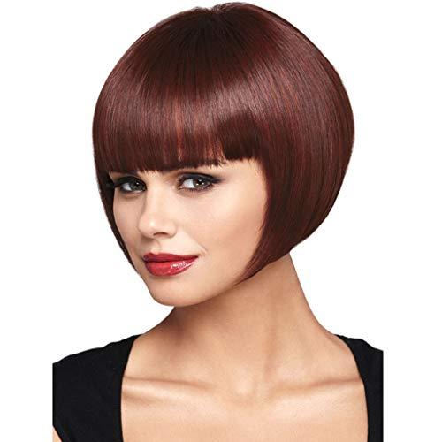 Femme Perruques Bresiliennes Cheveux Naturels Sexy Charmant Mode Pas Cher Court Cheveux Raides Postiches Pour SoiréE Cocktail (Rouge vin)